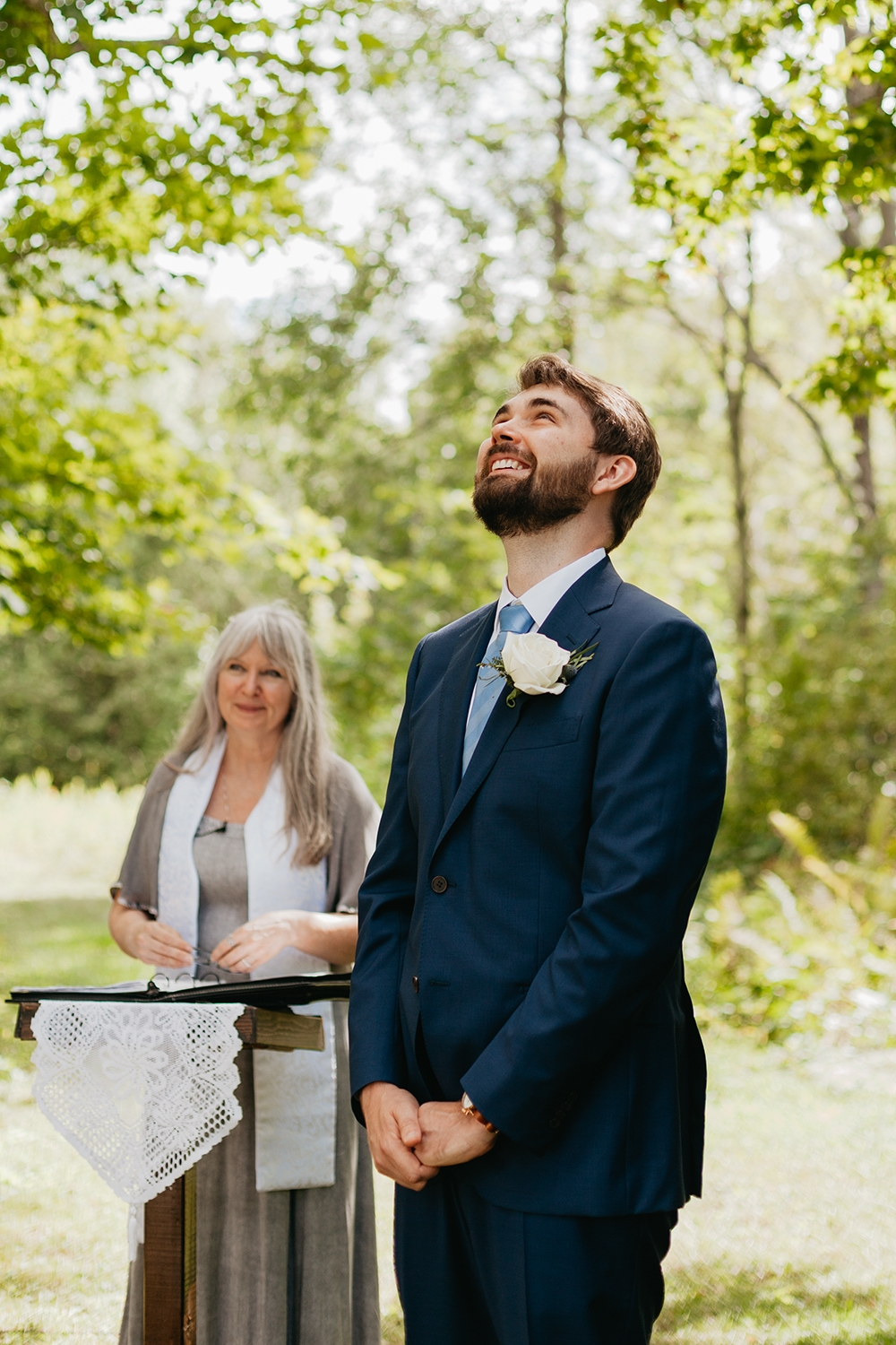 Ceremony Groom Reaction