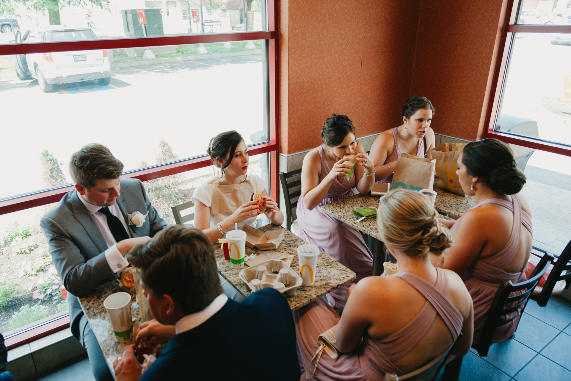 bridal party stops at mcdonalds for lunch