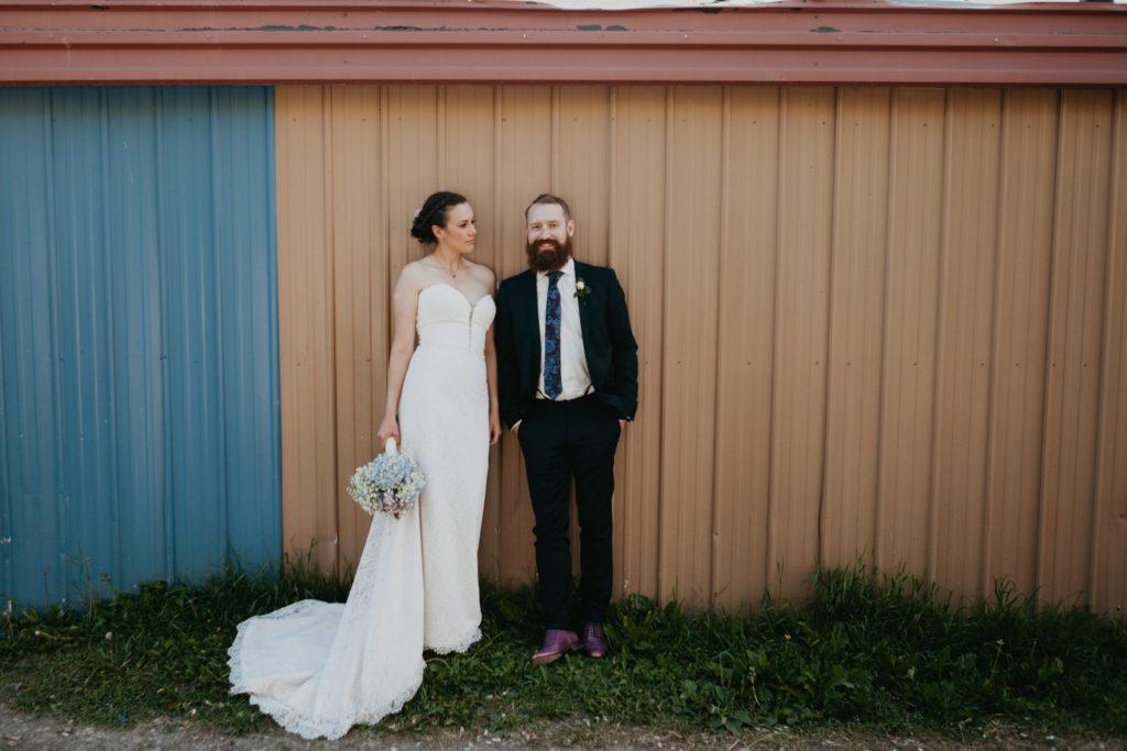Bride and Groom on wedding day, downtown calgary alberta.