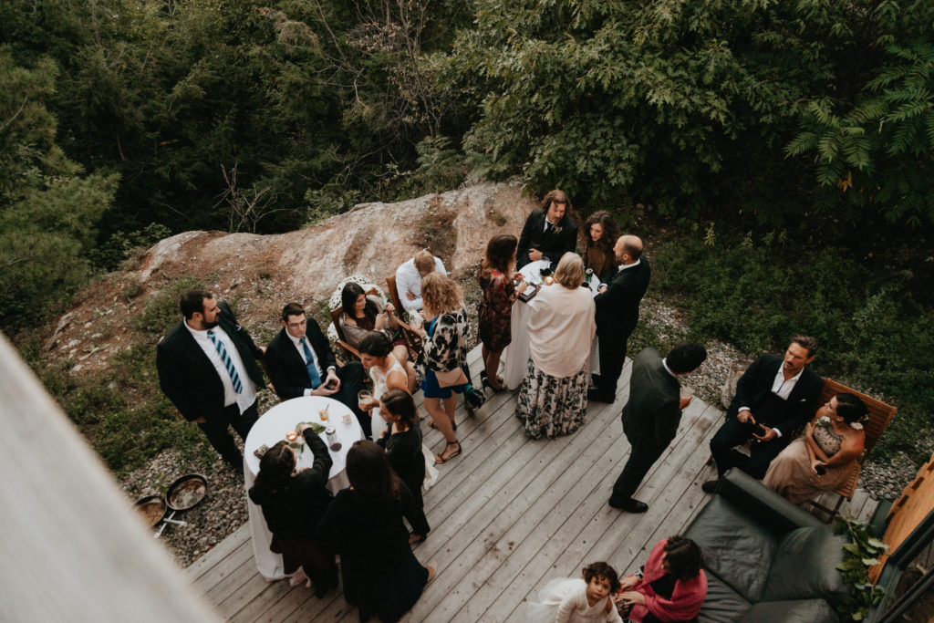 Birds eye view of a cocktail reception at an outdoor wedding. Ottawa river wedding
